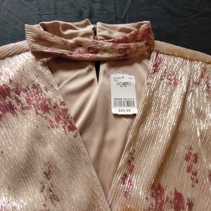 2/$25 Le Chateau Champagne Shimmer Wrap-like Top XXL